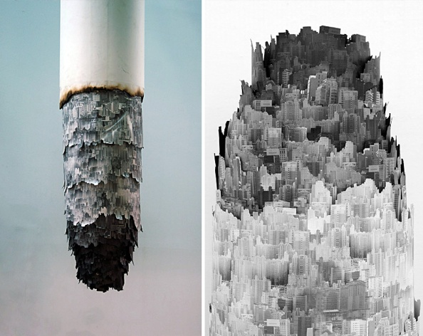 yang yongliang cigarette ash landscape